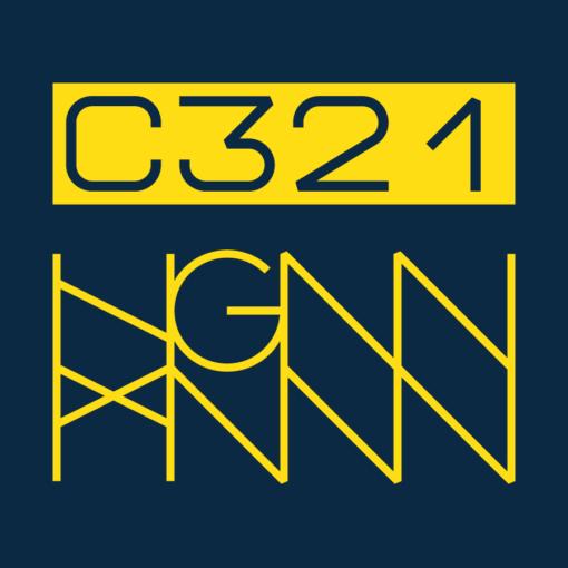 C321: STRIPED back label (blue)